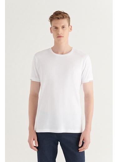 Avva Erkek Bisiklet Yaka Düz Sırt Biye Detaylı T-Shirt A11Y1172 Beyaz